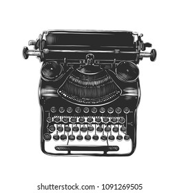 Vector engraved style illustration for posters, decoration and print. Hand drawn sketch of old typewriter in monochrome isolated on white background. Detailed vintage woodcut style drawing.