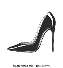 Vector engraved style illustration for posters, decoration and print. Hand drawn sketch of women's high heel  shoe in monochrome isolated on white background. Detailed vintage woodcut style drawing.