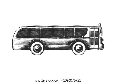 Vector engraved style illustration for posters, decoration and print. Hand drawn sketch of tourist bus in monochrome isolated on white background. Detailed vintage woodcut style drawing.