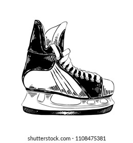 Vector engraved style illustration for posters, decoration and print. Hand drawn sketch of ice skates in black isolated on white background. Detailed vintage etching style drawing.