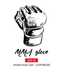 Vector engraved style illustration for posters, decoration and print. Hand drawn sketch of mma glove in black isolated on white background. Detailed vintage etching style drawing.