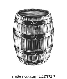 Vector engraved style illustration for posters, decoration and print. Hand drawn sketch of barrel of wine with a splash, monochrome isolated on white background. Detailed vintage woodcut style