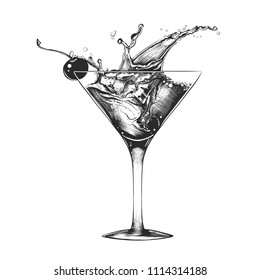 Vector engraved style illustration for posters, decoration and print. Hand drawn sketch of cocktail with splash, monochrome isolated on white background. Detailed vintage woodcut style