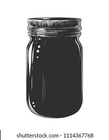 Vector engraved style illustration for posters, decoration and print. Hand drawn sketch of glass jar, monochrome isolated on white background. Detailed vintage woodcut style