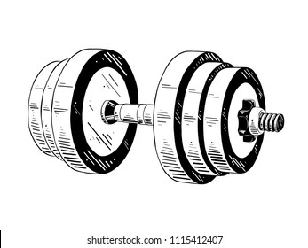 Vector engraved style illustration for posters, decoration and print. Hand drawn sketch of dumbbell in black isolated on white background. Detailed vintage etching style drawing.