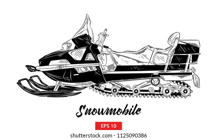Vector engraved style illustration for posters, decoration and print. Hand drawn sketch of snowmobile in black isolated on white background. Detailed vintage etching style drawing.