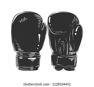 Vector engraved style illustration for posters, decoration and print. Hand drawn sketch of boxing gloves in monochrome isolated on white background. Detailed vintage woodcut style drawing.