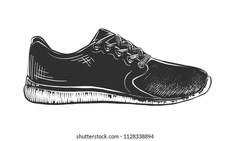 Vector engraved style illustration for posters, decoration and print. Hand drawn sketch of sneaker in monochrome isolated on white background. Detailed vintage woodcut style drawing.