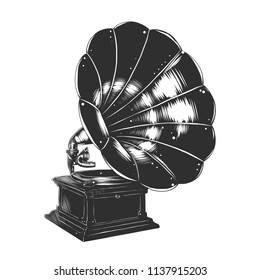 Vector engraved style illustration for posters, decoration and print. Hand drawn sketch of gramophone in monochrome isolated on white background. Detailed vintage woodcut style drawing.
