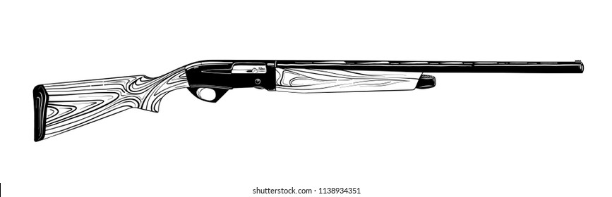 Vector engraved style illustration for posters, decoration and print. Hand drawn sketch of hunting gun in black isolated on white background. Detailed vintage etching style drawing.