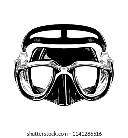 Vector engraved style illustration for posters, decoration and print. Hand drawn sketch of diving mask in black isolated on white background. Detailed vintage etching style drawing.