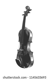Vector engraved style illustration for posters, decoration and print. Hand drawn sketch of violin in monochrome isolated on white background. Detailed vintage woodcut style drawing.