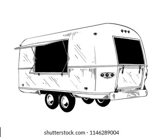 Vector engraved style illustration for posters, decoration and print. Hand drawn sketch of food truck in black isolated on white background. Detailed vintage etching style drawing.
