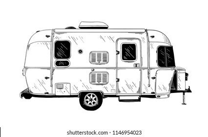 Vector engraved style illustration for posters, decoration and print. Hand drawn sketch of trailer in black isolated on white background. Detailed vintage etching style drawing.