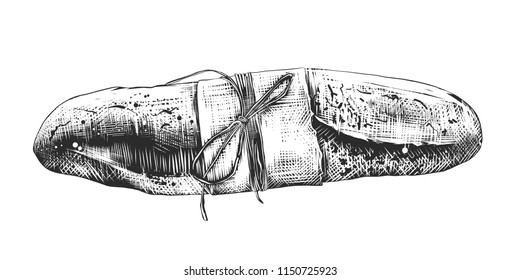 Vector engraved style illustration for posters, decoration and print. Hand drawn sketch of french baguette in monochrome isolated on white background. Detailed vintage woodcut style drawing.