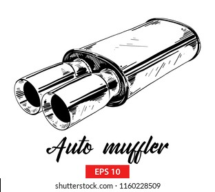 Vector engraved style illustration for posters, decoration and print. Hand drawn sketch of auto muffler in black isolated on white background. Detailed vintage etching style drawing.