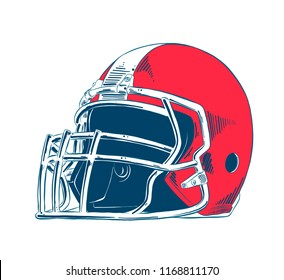 Vector engraved style illustration for posters, decoration and print. Hand drawn sketch of american football helmet in colorful isolated on white background. Detailed vintage etching style drawing.
