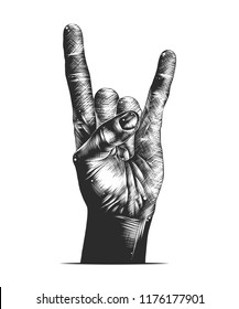 Vector engraved style illustration for posters, decoration and print. Hand drawn sketch of rock sign gesture in monochrome isolated on white background. Detailed vintage woodcut style drawing.