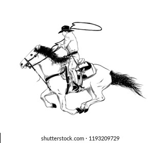 Cowboy Drawing Horse Images Stock Photos Vectors Shutterstock