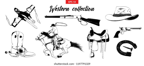 Vector engraved style illustration for posters, decoration and print. Hand drawn sketch set of western cowboy elements isolated on white background. Detailed vintage etching drawing.
