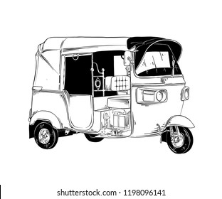 Vector engraved style illustration for posters, decoration and print. Hand drawn sketch of thai tuk tuk transport in black isolated on white background. Detailed vintage etching style drawing.