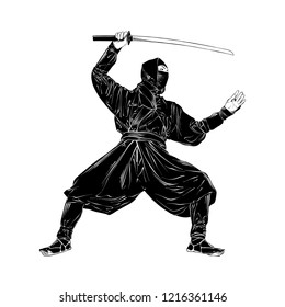 Vector engraved style illustration for posters, decoration and print. Hand drawn sketch of japanese ninja isolated on white background. Detailed vintage etching drawing.