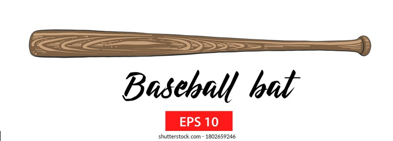 Vector engraved style illustration for posters, decoration and print. Hand drawn sketch of wood baseball bat isolated on white background. Detailed vintage etching style drawing.
