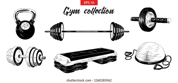 Vector engraved style illustrations for posters, logo, emblem and badge. Hand drawn sketch set of gym and fitness equipment, weight, dumbbell, bosu ball and step-platform. Detailed vintage etching