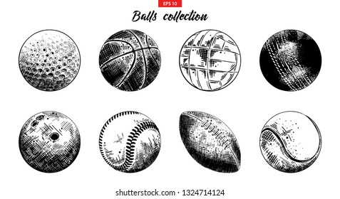 Vector engraved style illustrations for posters, logo, emblem and badge. Hand drawn sketch set of sport balls isolated on white background. Detailed vintage etching collection. Woodcut, linocut style.