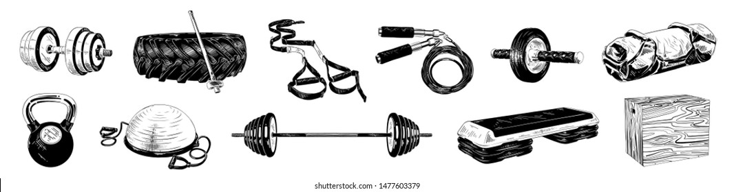 Vector engraved style illustrations for posters, logo, emblem and badge. Hand drawn sketch bundle of gym and fitness equipment, weight, dumbbell, bosu ball and step-platform. Detailed vintage etching