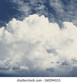 Vector engraved style one color illustration, clouds in the sky