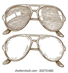 vector engraving illustration of sunglasses on white background