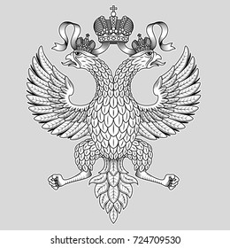 Vector engraving an imperial two-headed eagle with a crown
