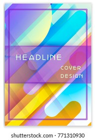Vector entertainment, business template with headline of cover and copy space, used as report, placard. A4 format. Colorful pastel multicolor abstract design with trendy geometric shapes.