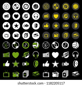 vector Entertainment icons set - multimedia, cinema, music sign symbol