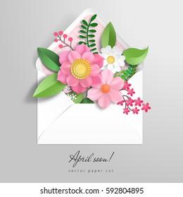 Vector envelope. 3d paper flowers. Paper cut art. Inscription April soon.