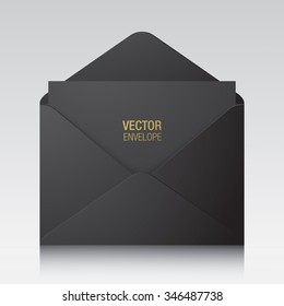 Vector envelope. Black opened envelope isolated on a background. Realistic mockup.