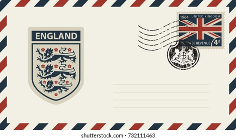Vector envelope with Coat of Arms of England, a postage stamp with flag of United Kingdom and rubber stamp in form of royal coat of arms of Great Britain