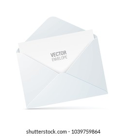 Vector envelope isolated on background. Realistic white opened envelope standing on a surface.