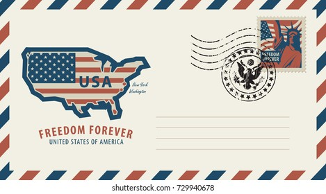 Vector envelope with a map of America in colors of the national flag, inscription, postage stamp with New York Statue of Liberty and a rubber stamp in retro style.