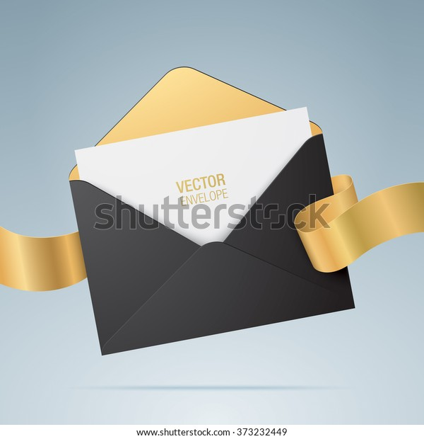 Vector Envelope Opened Black Envelope Invitation Wektorowa