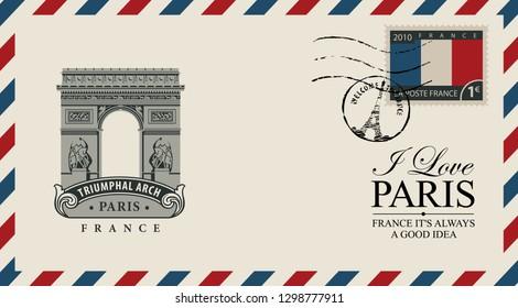 Vector envelope with Paris arc de Triomphe