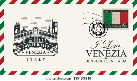Vector envelope or postcard in retro style with Ponte di Rialto bridge, postmark and postage stamp with Italian flag. Venice architectural attraction. Inscription I love Venezia