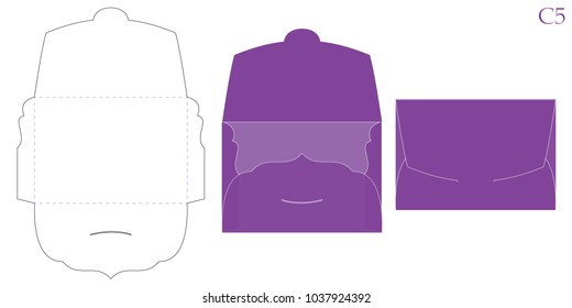 Vector envelope. Purple opened envelope isolated on a background. Decorative packing mockup for  wedding invitation card, greeting birthday. Empty template. Print die cut. Cutout fold with swirl flap