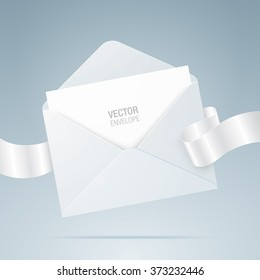 Vector envelope. White envelope with blank paper and ribbon. Realistic mockup.