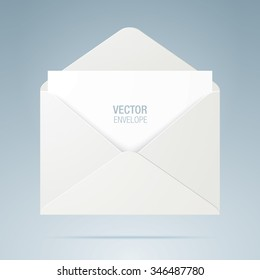 Vector envelope. White opened envelope isolated on a background. Realistic mockup.