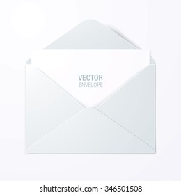 Vector envelope. White opened envelope laying on a surface.