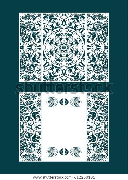 Vector Envelopes Wedding Invitation Laser Cut Stock Image