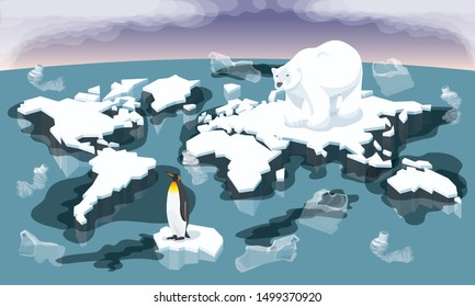 Vector Environment Pollution And Global Warming Illustration. Conceptual Image Of Melting World Shaped Glacier In Deep Blue Water With Animals Bear And Penguin. Plastic Garbage And Oil In The Water