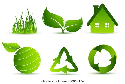 vector environmental elements over white for your design